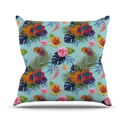 Tropical Floral Throw Pillow Size: 16 H x 16 W