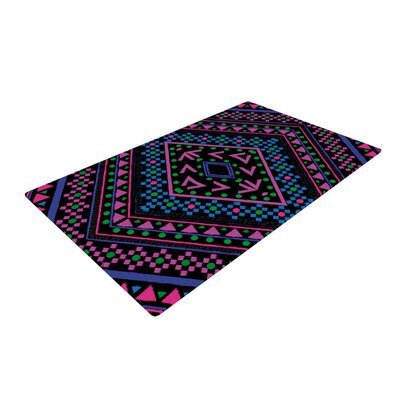 Nika Martinez Neon Pattern Black/Pink Area Rug Rug Size: 4 x 6