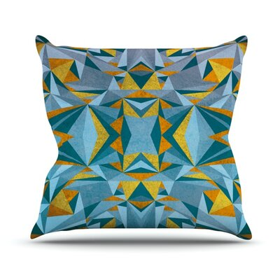 Abstraction Throw Pillow Size: 16 H x 16 W, Color: Blue and Gold