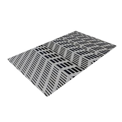 The Grid Gray/Black Novelty Rug Rug Size: 4 x 6