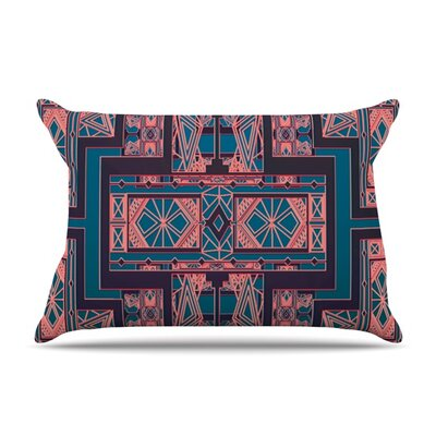 Golden Art Deco by Nika Martinez Featherweight Pillow Sham Color: Blue/Coral, Size: King, Fabric: Woven Polyester