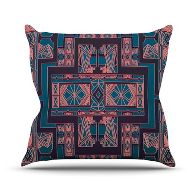 Golden Art Deco Throw Pillow Size: 16 H x 16 W, Color: Blue and Coral