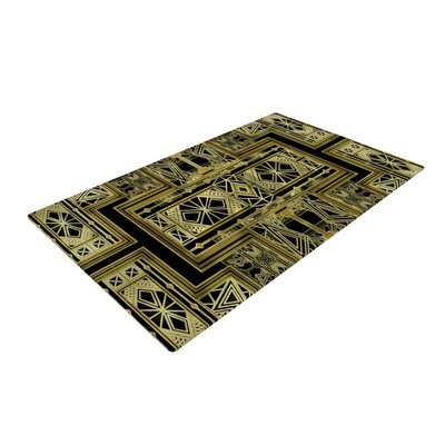 Nika Martinez Golden Art Deco Gold/Black Area Rug Rug Size: 2 x 3