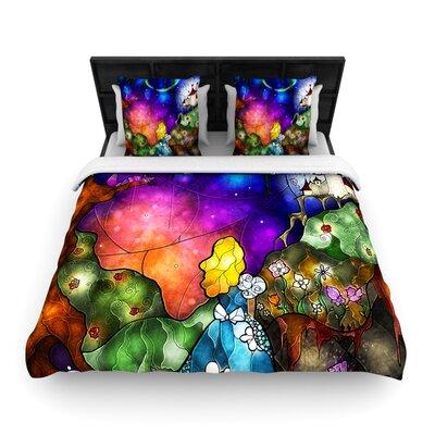 Fairy Tale Alice in Wonderland Woven Comforter Duvet Cover Size: King