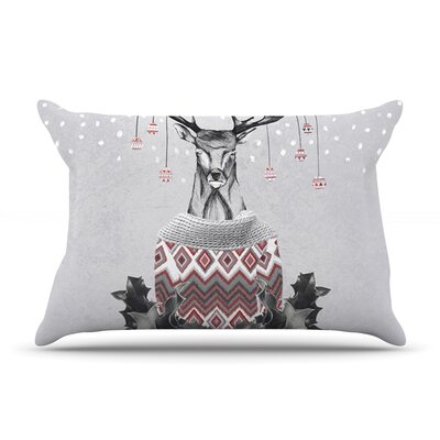 Christmas Deer Snow Pillow Case Size: King