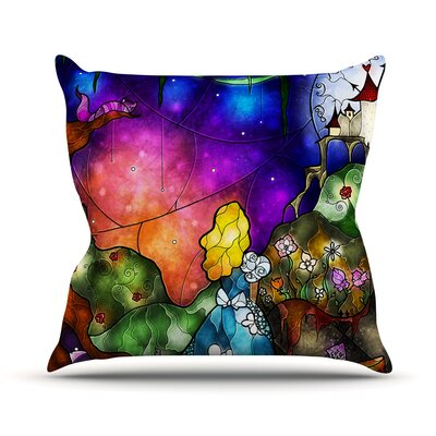 Fairy Tale Alice in Wonderland Outdoor Throw Pillow Size: 26 H x 26 W x 4 D