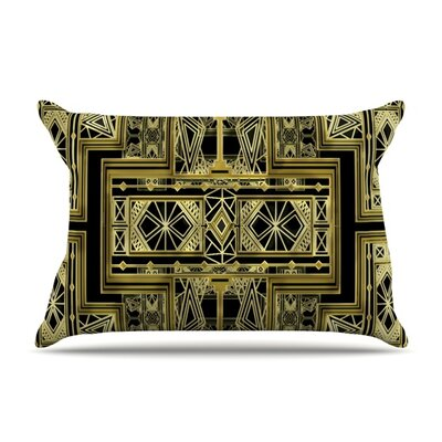 Golden Art Deco by Nika Martinez Featherweight Pillow Sham Size: Queen, Fabric: Woven Polyester