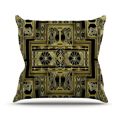 Golden Art Deco Throw Pillow Size: 16 H x 16 W, Color: Gold and Black