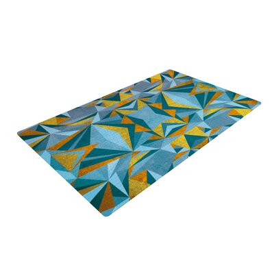 Nika Martinez Abstraction Blue/Gold Area Rug Rug Size: 4 x 6