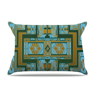Golden Art Deco by Nika Martinez Featherweight Pillow Sham Size: Queen, Color: Green/Blue, Fabric: Woven Polyester