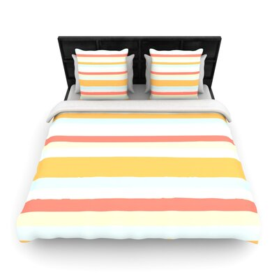 Nika Martinez Woven Comforter Duvet Cover Size: Full/Queen, Color: Sand Stripes