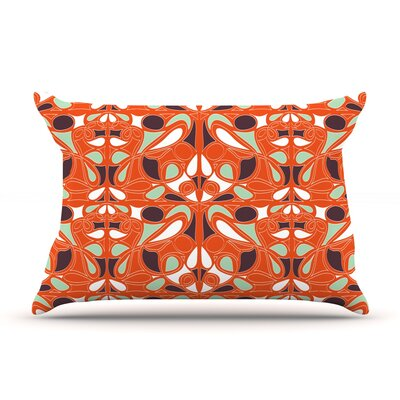 Orange Swirl Kiss by Miranda Mol Featherweight Pillow Sham Size: Queen, Fabric: Woven Polyester