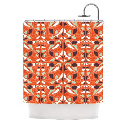 Orange Swirl Kiss Shower Curtain