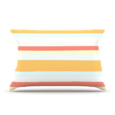 Sand Stripes by Nika Martinez Featherweight Pillow Sham Size: King, Fabric: Woven Polyester