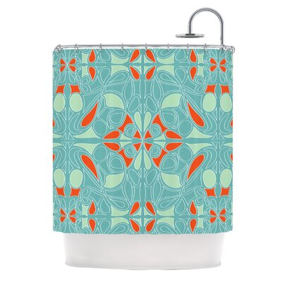 Seafoam and Orange Shower Curtain