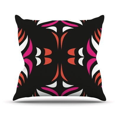 Magenta Orange Hawaiian Retro Throw Pillow Size: 26 H x 26 W