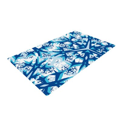 Miranda Mol Winter Mountains Blue/White Area Rug Rug Size: 4 x 6