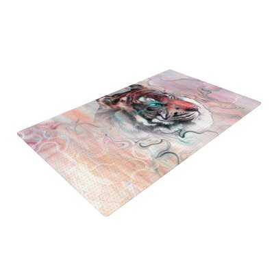 Mat Miller Illusive by Nature White/Red Area Rug Rug Size: 2 x 3