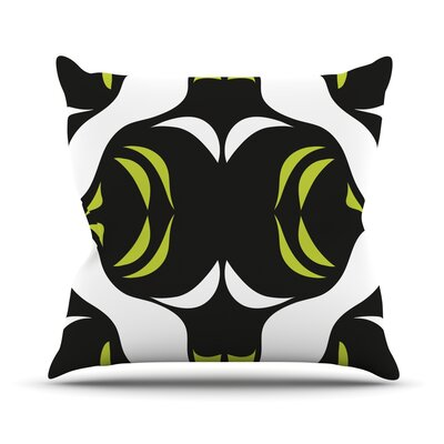 Green White Jaws Throw Pillow Size: 16 H x 16 W