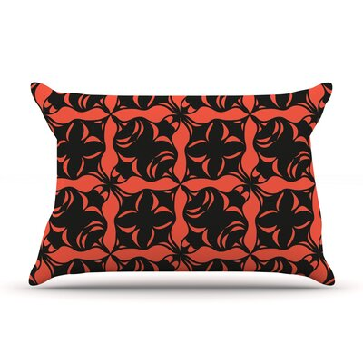 Oval Orange Love Pillow Case Size: Standard