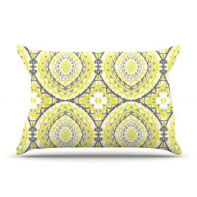 Yellow Tessellation by Miranda Mol Featherweight Pillow Sham Size: King, Fabric: Woven Polyester