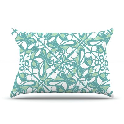 Swirling Tiles Teal Pillow Case Size: Standard