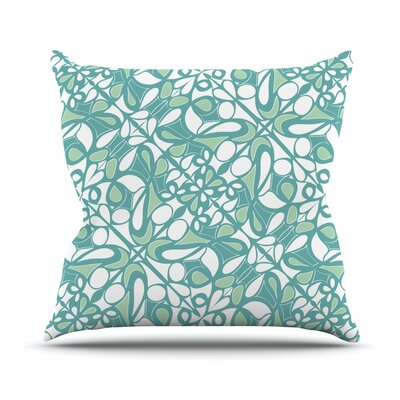 Swirling Tiles Teal Throw Pillow Size: 18 H x 18 W