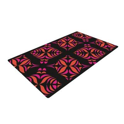 Miranda Mol Orange on Black Tile Area Rug Rug Size: 4 x 6