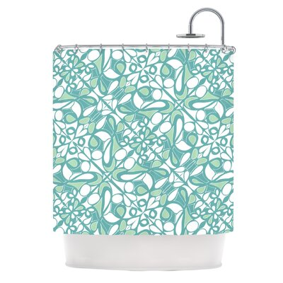 Swirling Tiles Teal Shower Curtain