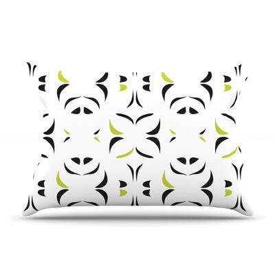 Retro Green Snow Storm Pillow Case Size: Standard