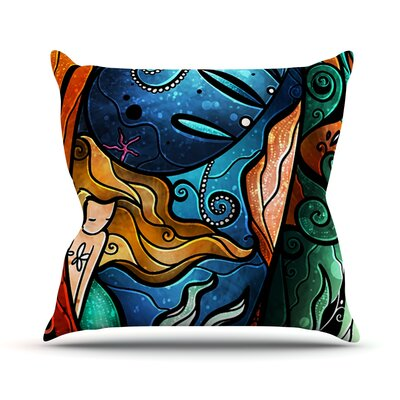 Fathoms Below Mermaid Throw Pillow Size: 18 H x 18 W