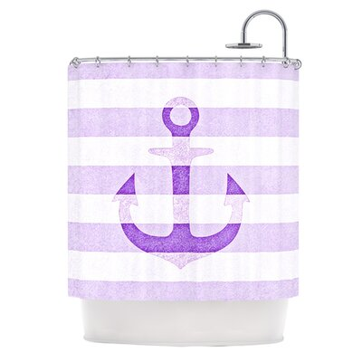 Stone Vintage Anchor Shower Curtain Color: Purple