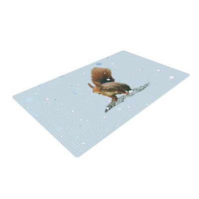 Monika Strigel Squirrel Blue/Brown Area Rug Rug Size: 4 x 6