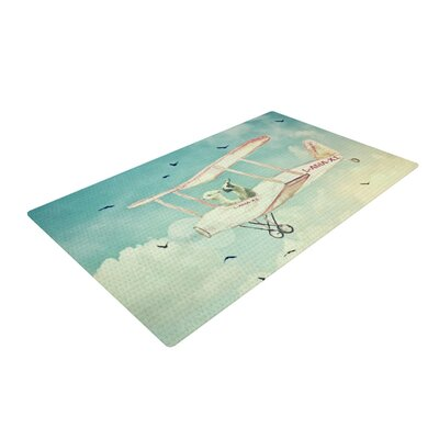 Monika Strigel Never Stop Exploring II White/Blue Area Rug Rug Size: 2 x 3