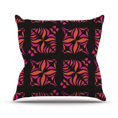 Orange on Black Tile Throw Pillow Size: 26 H x 26 W