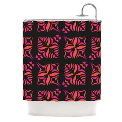 Orange on Black Tile Shower Curtain