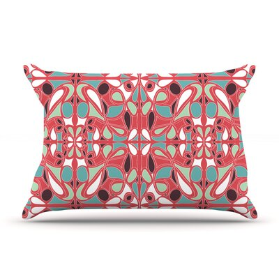 Stained Glass Pink Pillow Case Size: Standard
