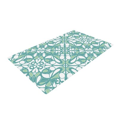 Miranda Mol Swirling Tiles White/Teal Area Rug Rug Size: 2 x 3