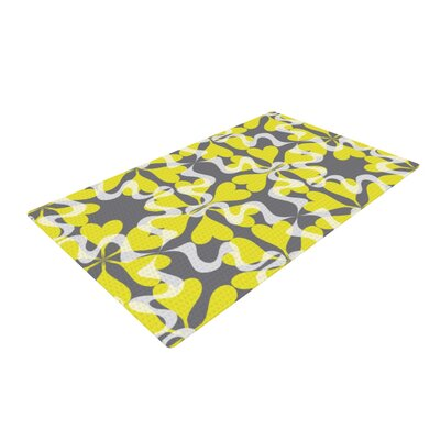 Miranda Mol Flowering Hearts Yellow Area Rug Rug Size: 2 x 3
