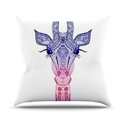 Rainbow Giraffe Throw Pillow Size: 18 H x 18 W