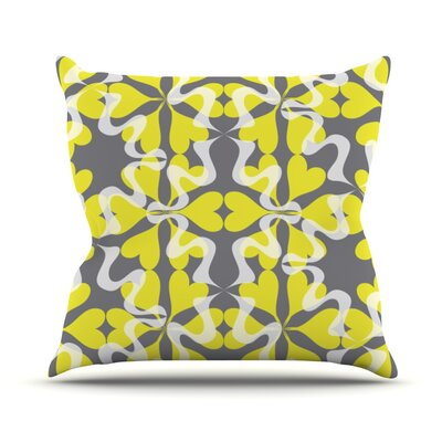 Flowering Hearts Throw Pillow Size: 18 H x 18 W