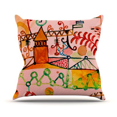 Happy Town Throw Pillow Size: 26 H x 26 W