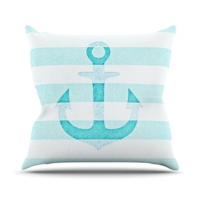 Stone Vintage Anchor Throw Pillow Size: 16 H x 16 W, Color: Aqua
