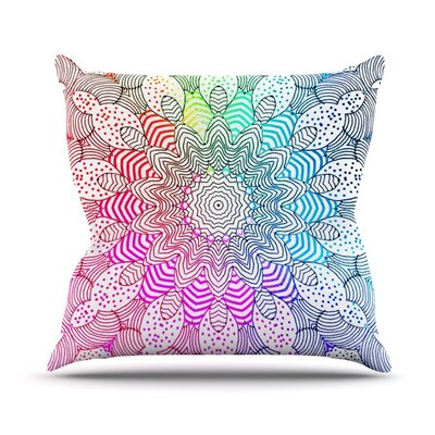 Rainbow Dots Throw Pillow Size: 16 H x 16 W