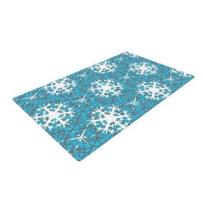 Miranda Mol Precious Flakes Blue/White Area Rug Rug Size: 2 x 3