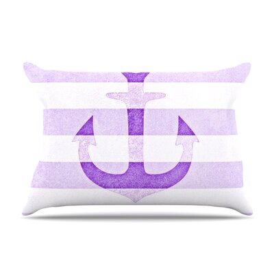Monika Strigel Stone Vintage Aqua Anchor Featherweight Sham Size: Queen, Color: Purple, Fabric: Woven Polyester
