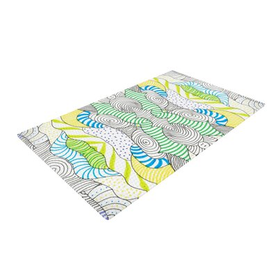 Monika Strigel Wormland Blue/Yellow Area Rug Rug Size: 2 x 3