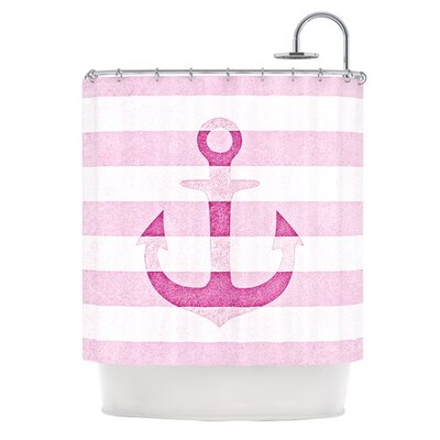Stone Vintage Anchor Shower Curtain Color: Pink