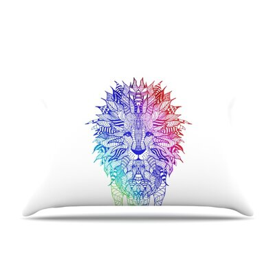 Rainbow Lion by Monika Strigel Featherweight Pillow Sham Size: Queen, Fabric: Woven Polyester