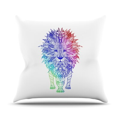 Rainbow Lion Throw Pillow Size: 16 H x 16 W
